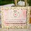 ♥It's all in the details...Even the couple's Instagram Hashtag sign was made to coordinate. We did a watercolor pink wash as the background and found this great cream frame to display it. -Photo: Tim Otto