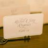 ♥A blush lace print was used on the escort cards, which were displayed in key holders. -Photo: Tim Otto
