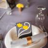 ♥Love birds with the couple's initials perched on branches with the wedding date were hand-painted on each coaster-tile.