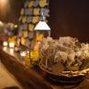 ♥Beautiful hand-made thank you tags hung from burlap sacs that held Costa Rican coffee favors.