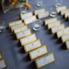 ♥The beautiful escort cards were embossed with gold designs and adorned with Swarovski crystals.