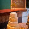 ♥Painted wood love bird cake-toppers were embellished with the couple's initials using Swarovski crystals.